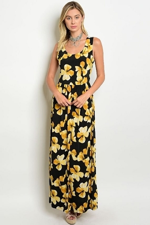 black yellow floral dress