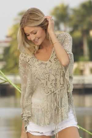 Pauleena embroidered silk top
