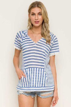 Lace Sleeved Pocket Mix Stripe hooded Top