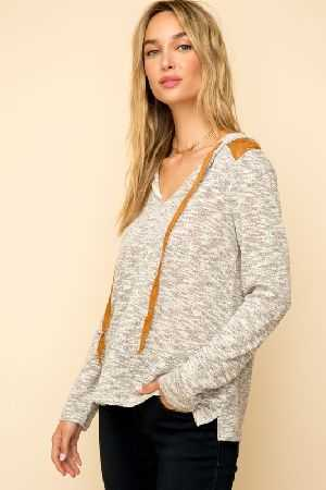 Lace contrast two tone textured hoodie top