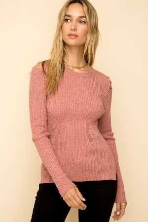 Lace up shoulder hi low rib sweater
