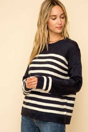 Wide sleeve stripe round neck sweater