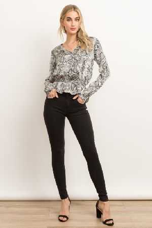 Animal print peplum blouse