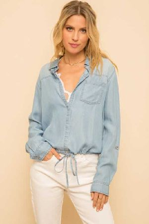 Draw String Button Down Denim Top