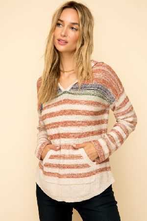 Multi color stripe pocket front hoodie sweater