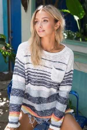 Multi striped color pullover sweater
