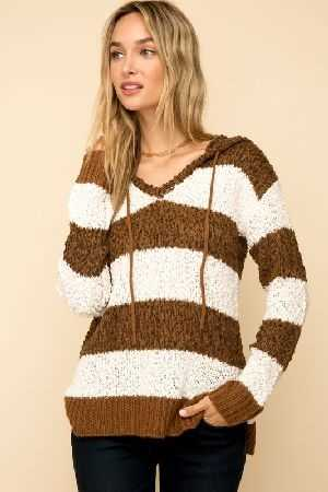 Nubby Stripe hooded sweater