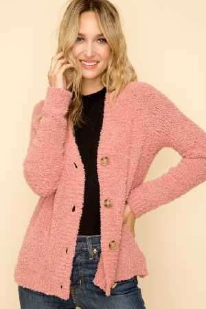 Soft fuzzy textured button down cardigan
