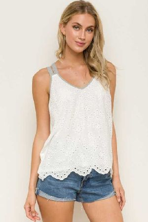 V Neck Criss Cross Back tank Top
