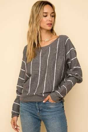 Verticle stripe dolman sleeve sweater