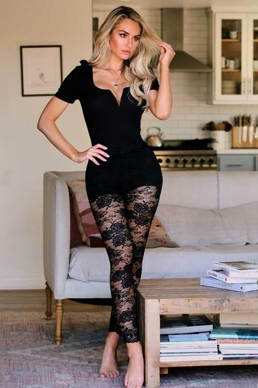 Floral Lace Legging With Shorts Lining