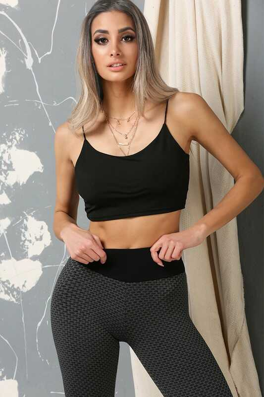 Textured Hip Push Up Two Tone Leggings