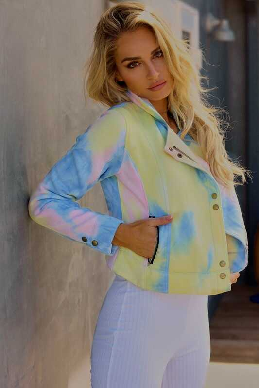 Tie Dye Button And Zip UP Casual Jacket