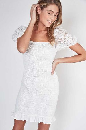 Embroidered puff sleeves smocking mini dress