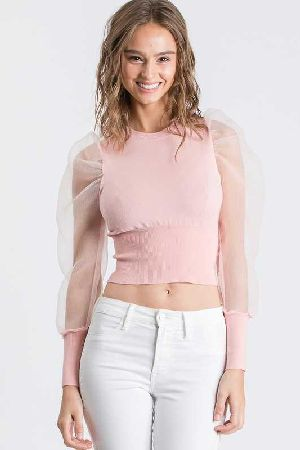 See through organza sleeves sweater top