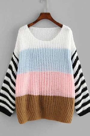 Color block loose knit oversized sweater
