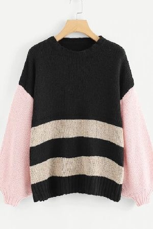 Contrast lantern sleeve striped sweater