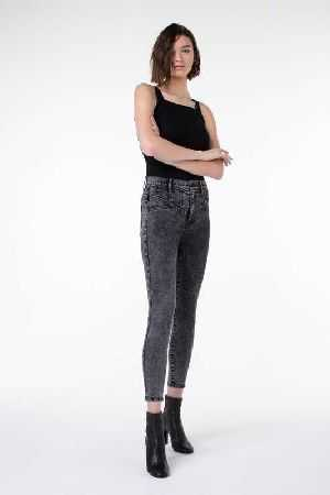 Kendall And Kylie black acid stretch denim
