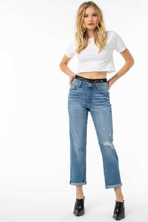 Mid rise girlfriend with Kendall And Kylie logo elastic waistband