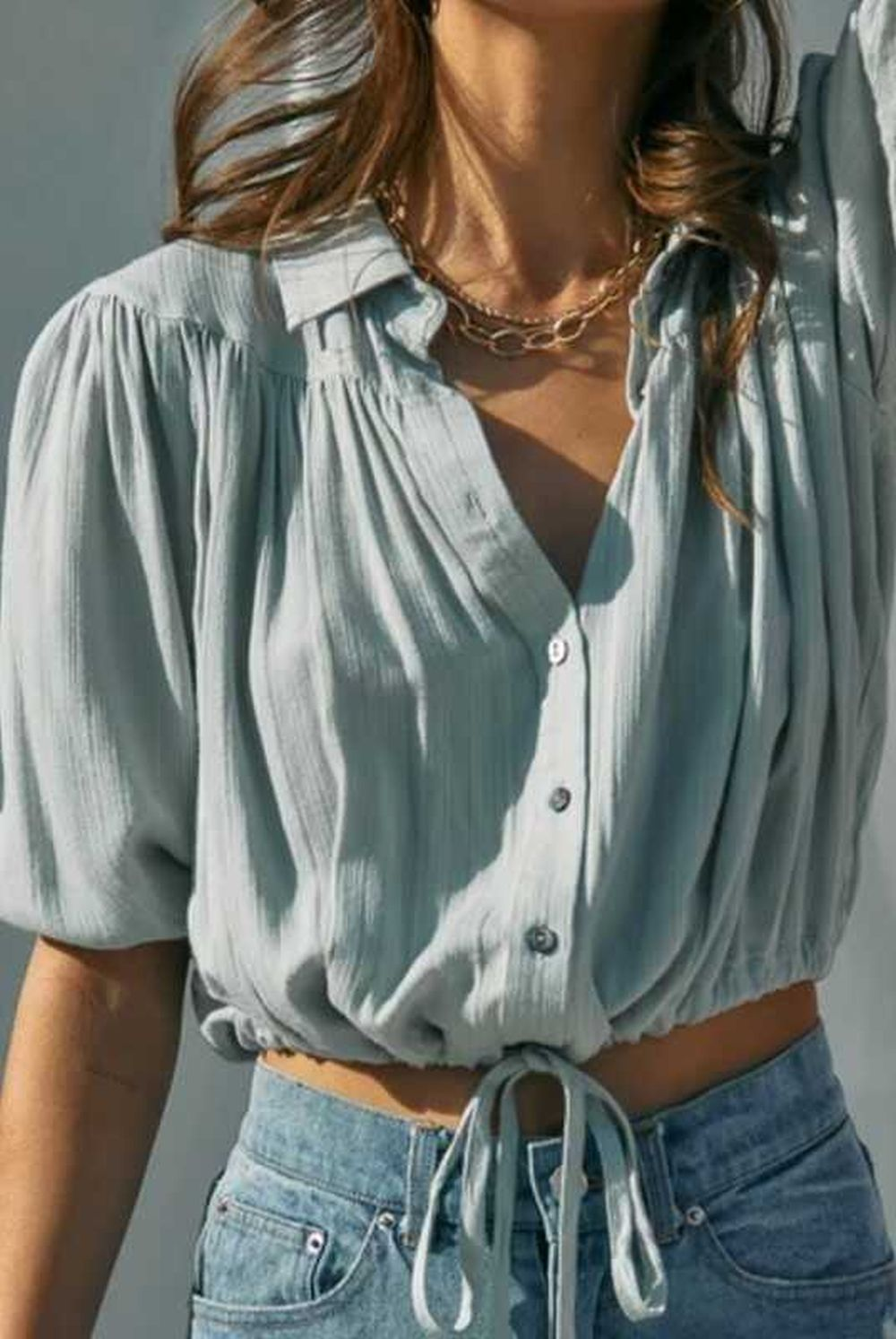 Half Sleeve Cropped Blouse