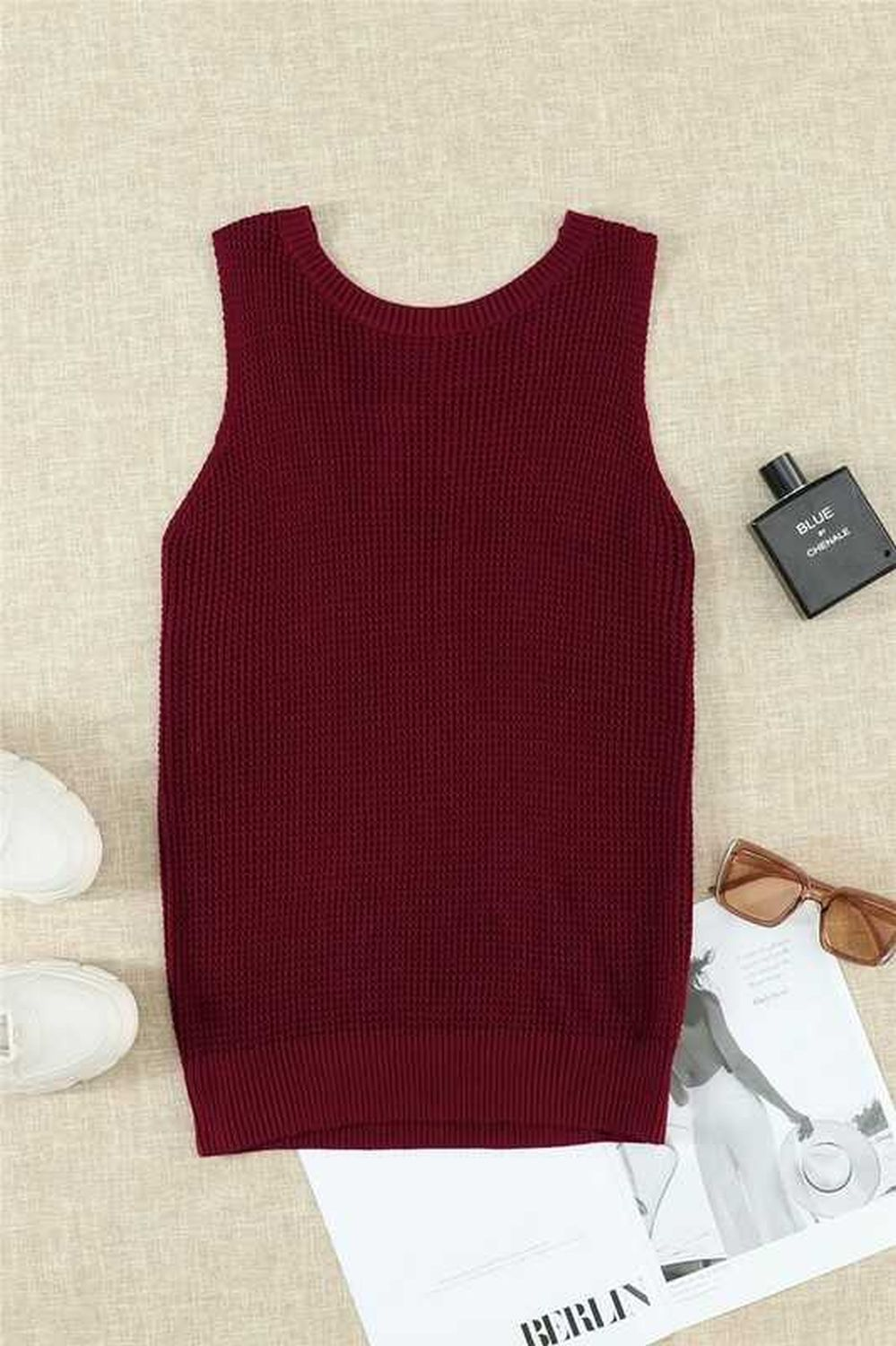 Crisscross Hollow Out Knit Tank Top