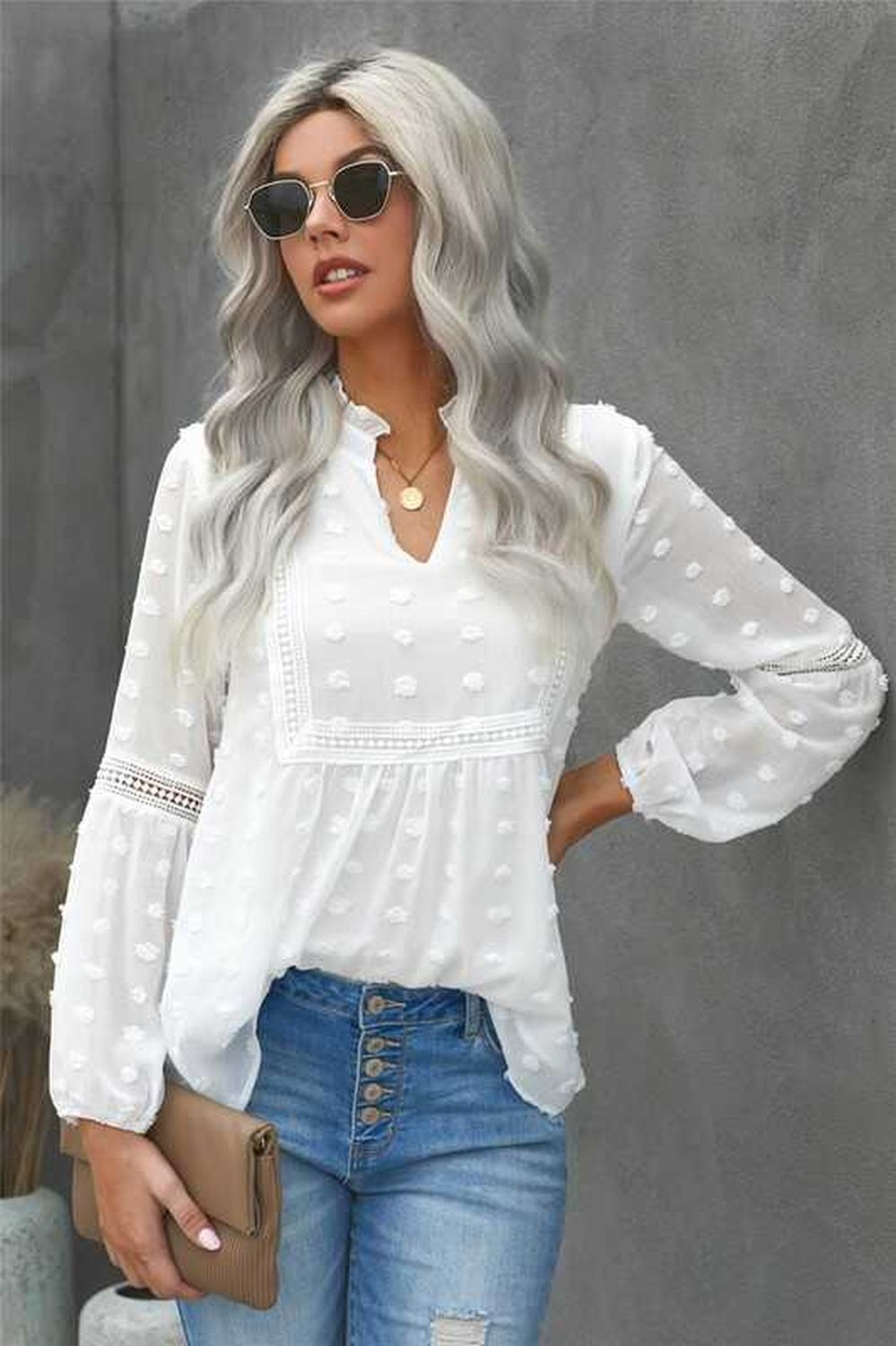 Ruffled Lace Hollow Out Puff Sleeve Blouse