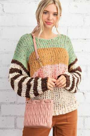 Chunky Yarn Mix Stripe Sweater
