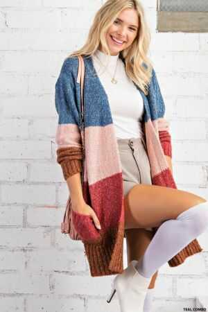 Color Block Long Line Cardigan