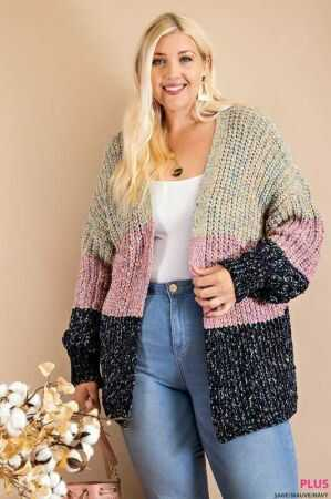 Cozy Color Block Cardigan