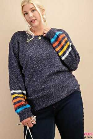 Multi Color Stripe Sleeve Sweater