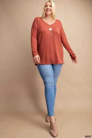 Raglan Long Sleeve Ribbed Top