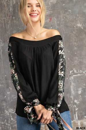 Satin Floral Sleeve Off Shoulder Thermal Top