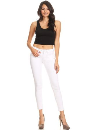 White denim cropped mid rise