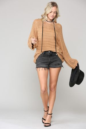 Oversized ribbed sweater with open weave detail