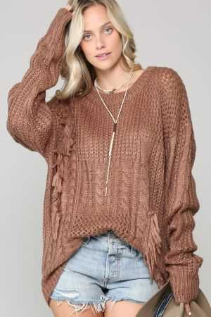 Knitted tunic sweater with fringe trim