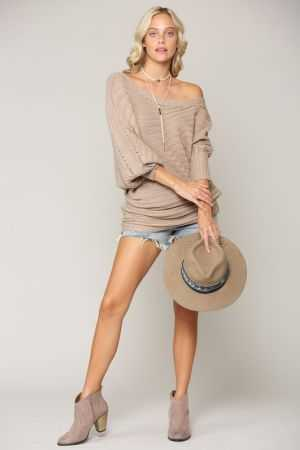 One shoulder long sleeve ribbed sweater