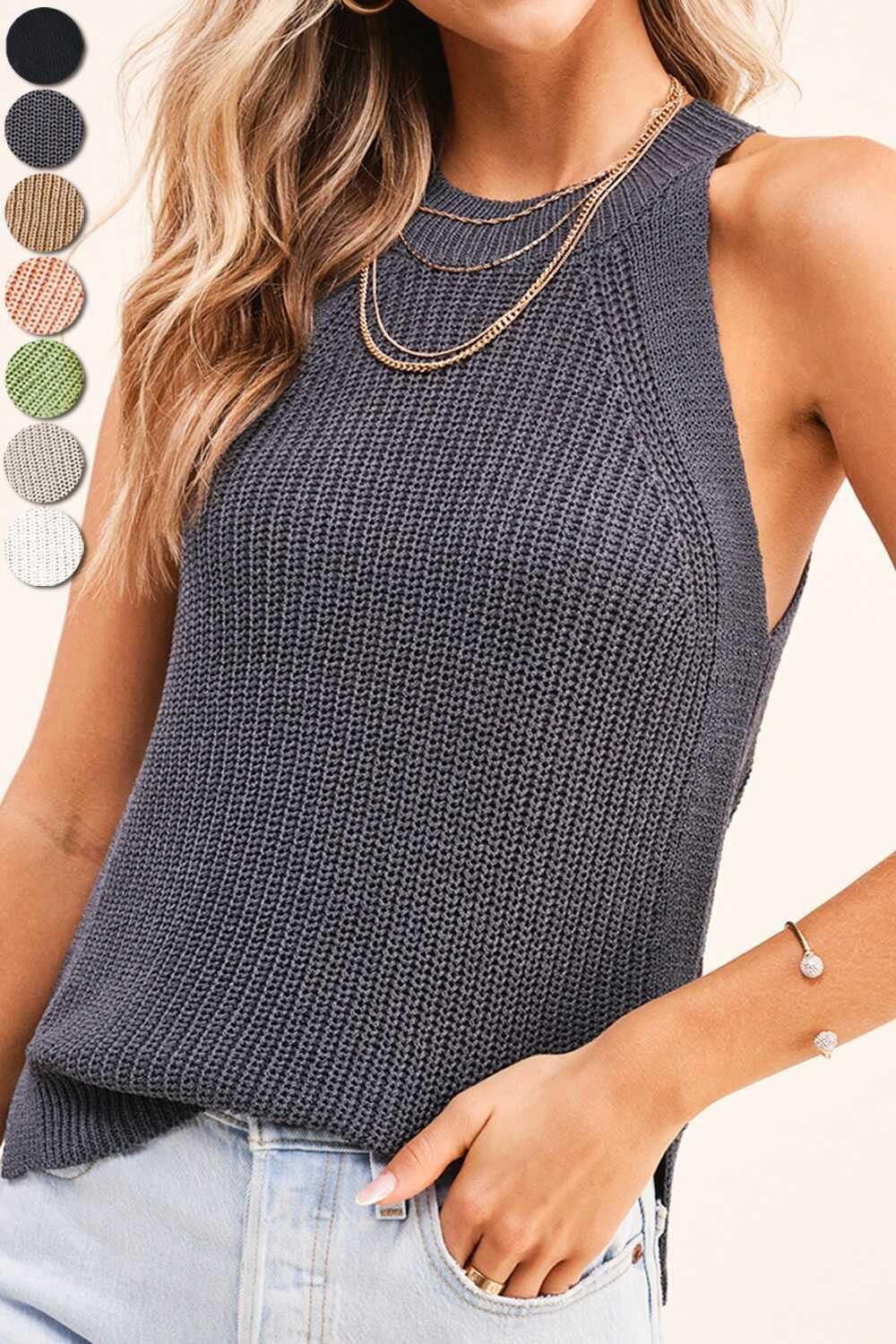 Sweater Knit Halter Tank Top