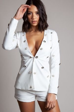 White two piece set with daring open front blazer embossed button detail