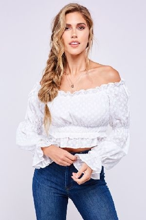 All over daisy embroidered cotton top