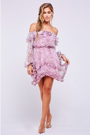 English rose print lavender mini dress