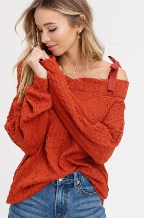 Cable knitted princess shoulder top
