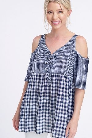 Gingham tie sash cold shoulder tunic