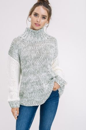 Hand Crochet Two Tone Chunky Cowl Neck Sweater Marshas Clothing