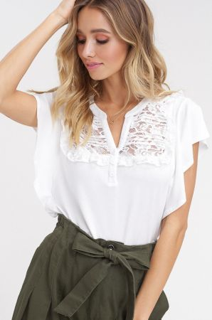 Lace pintuck chest flutter sleeves  t shirt