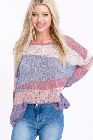 Multi color light weight pullover sweater