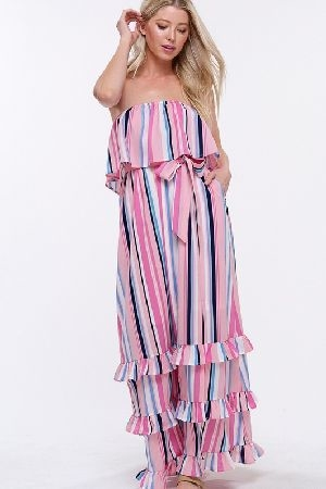 Multi stripe layered ruffle maxi dress