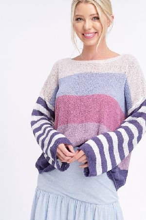 Multi stripe light weight pullover sweater