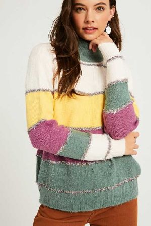 Multi stripe mock neck pullover knit sweater