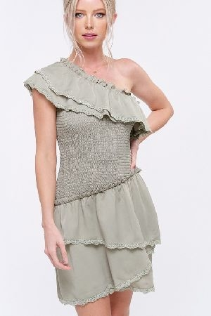 One shoulder layered ruffle smocking dress