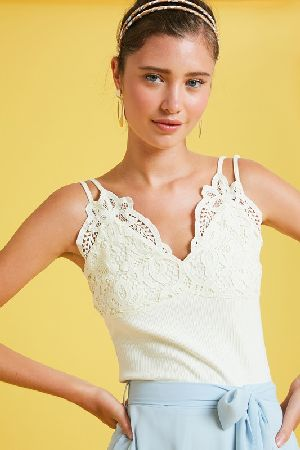 Ribbed camisole top with crochet lace patch